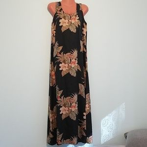 Tommy Bahama Long Hawaiian Sleeveless Dress Black